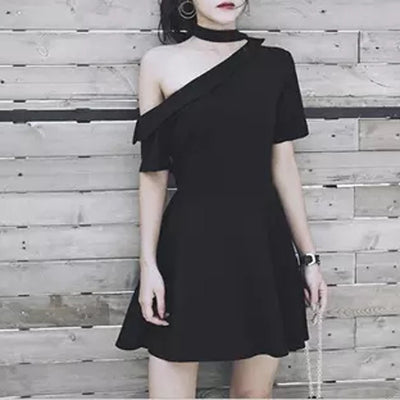 MX58 Black One Shoulder Halter Dress