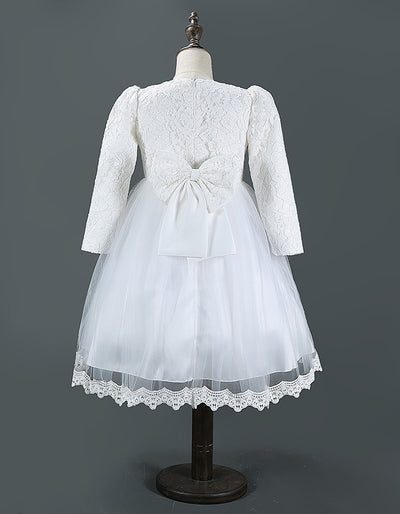 FG91 Cute long sleeve Flower Girl dress (White/ Pink )