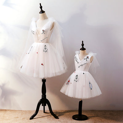 MM08 Korean Embroidery Cartoon  Mother & Kid Matching Dresses