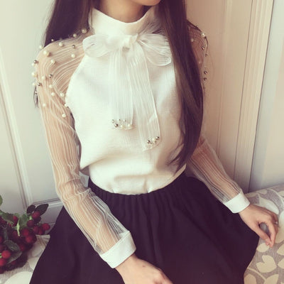 TJ01 Elegant Organza bow and Pearl White Blouse