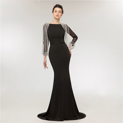 Black long sleeve crystal tassel  Evening Gowns
