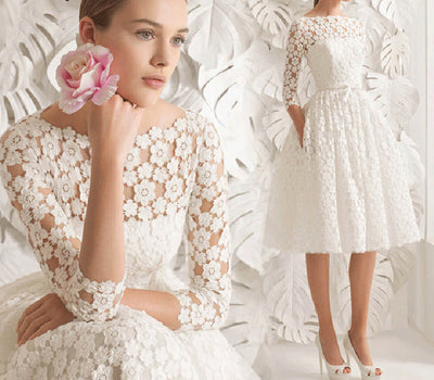SS43 Vintage 3/4 Sleeves A line Short Lace Wedding Dresses