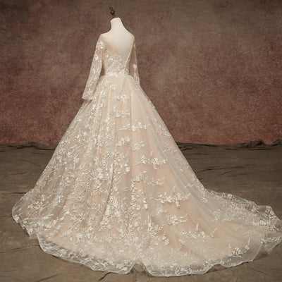 CW28 Plus Size full Sleeves Lace A line Bridal Gowns