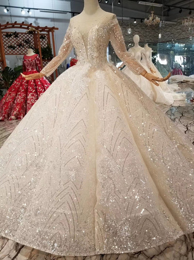 Luxury Glitter o-neck long sleeve Wedding gown