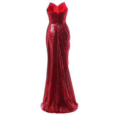 PP85 Strapless Sequins Prom Dresses(6 Colors)