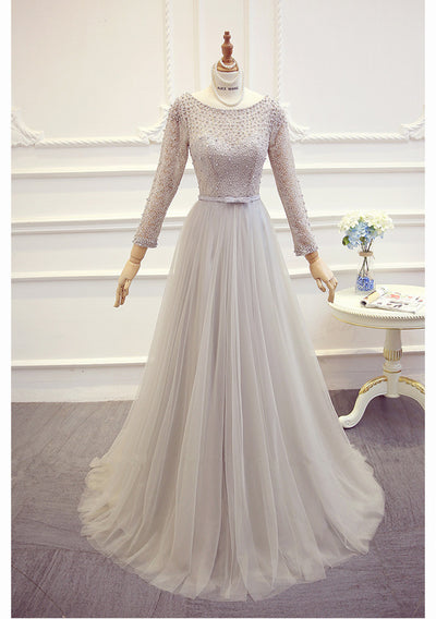 Long sleeve pearl beaded Evening Gown