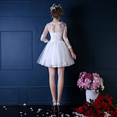 SS45 3/4 Sleeve Embroidery A line short Wedding Dress