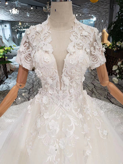Short sleeves deep v-neck bridal dresses