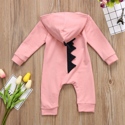 Baby Boy Girl 3D Dinosaur Costume Solid pink gray Rompers warm spring autumn cotton romper Playsuit Clothes