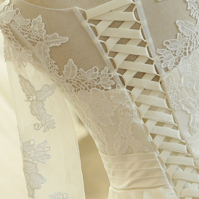 Long Sleeve Lace Satin A Line Muslim Wedding Gown with Chapel train