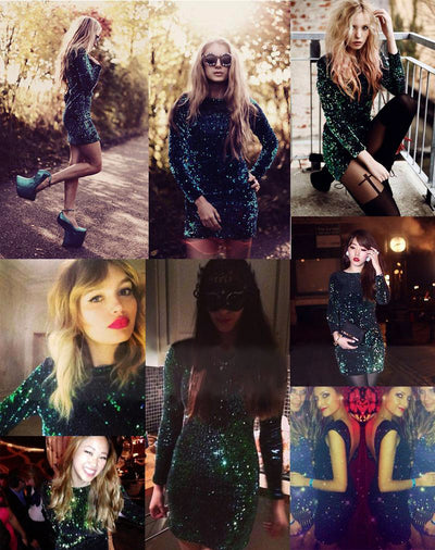 MX219 Classy Green long sleeves sequined Party Dress