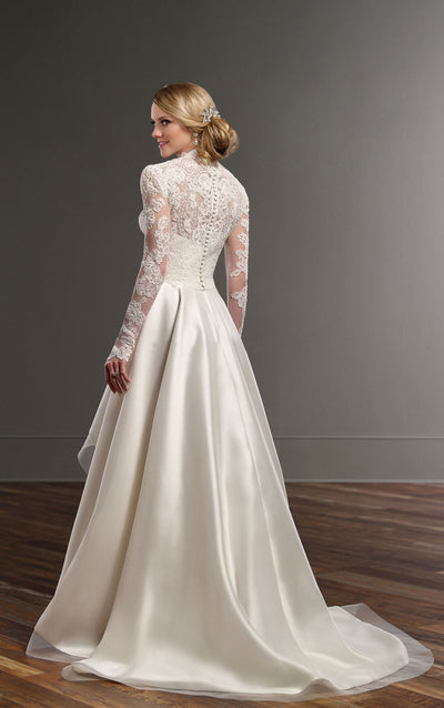 SS39 High neck long sleeves applique lace Hi lo Wedding Dress