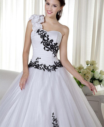 CG31 Black and white one shoulder  wedding dress