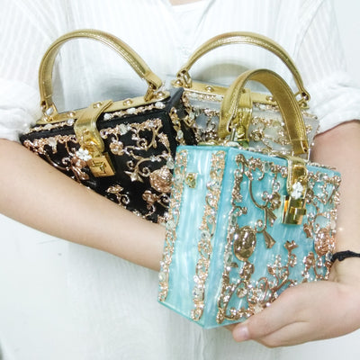 CB112 Box shaped Acrylic Evening Clutch Bags (6 Colors)