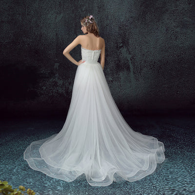SS01 Short Front Long Back Wedding Dress