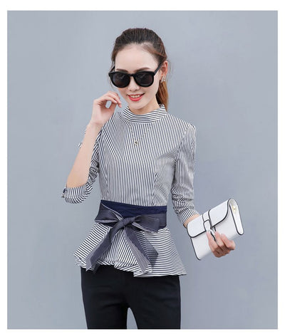 TJ07 New Blue Striped Long Sleeve Peplum Tops(3 Colors)