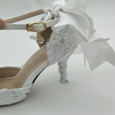 BS02 White Bowknot Lace Flower Wedding Shoes
