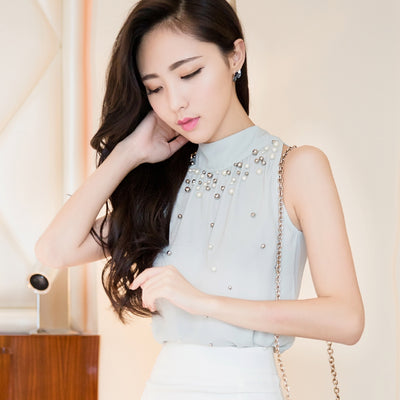 TJ02 New Fashion Korean Sleeveless Chiffon Blouse(2 Colors)