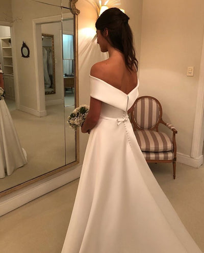 CW95 Simple Satin Off The Shoulder Bridal Gown