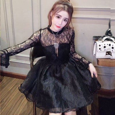 Korean Sweet Mesh sleeve Dresses