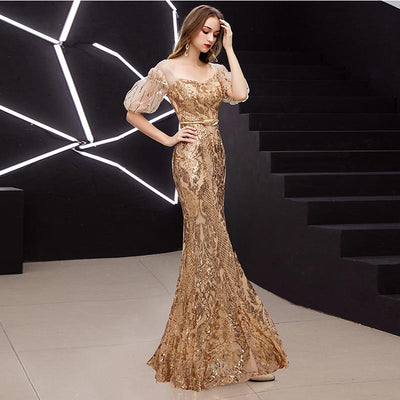 PP120 Half Puff Sleeves Gold Sequins Evening Dresses