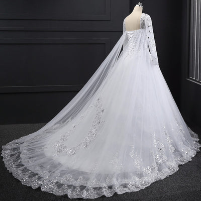 CW146 Real Photo Long sleeve Crystal beaded Wedding dress