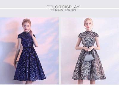 PP163 High Neck short sleeve sequins Cocktail Dress (4 Colors)