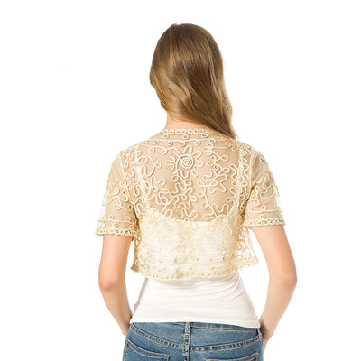 TJ45 Summer See through Lace  Short Jackets(2 Colors)