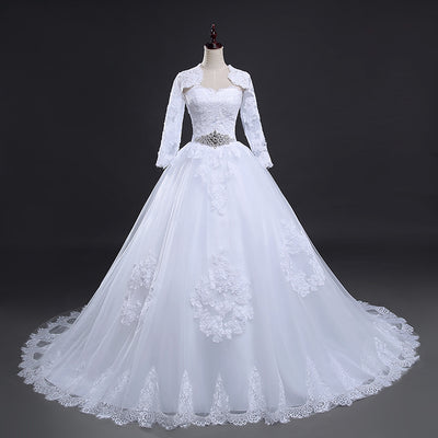 CW39 Real Photo plus size strapless wedding dress with jacket