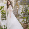 CW10  short flare sleeves beach Wedding Dress