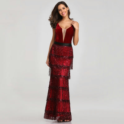 PP137 Elegant Tassel long Evening Dresses(2 Colors)