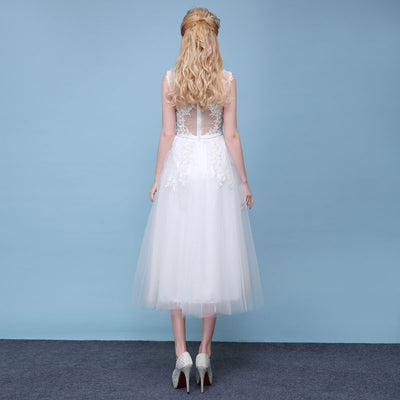 SS10 See Through Back Short Wedding Dresses
