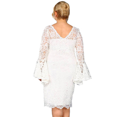 MX123 Plus Size Flare Sleeve Lace  Party Dress(Black/White)