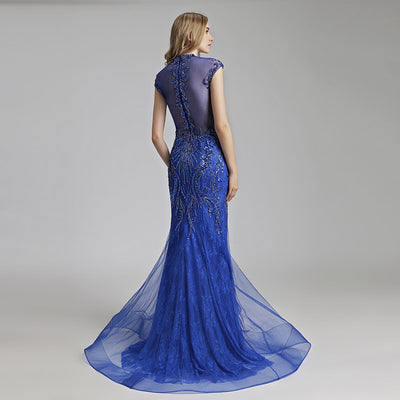 Sexy back Mermaid Evening Dresses ( Mocha/Royal Blue)