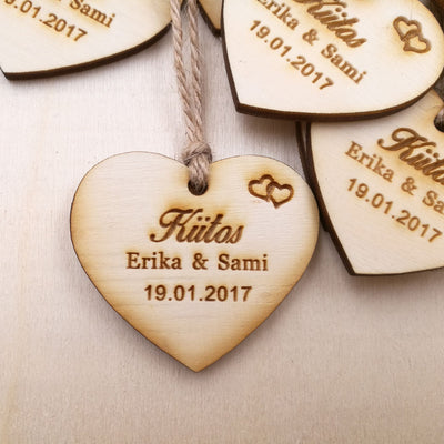 50pcs Personalize heart wooden wedding favor tags