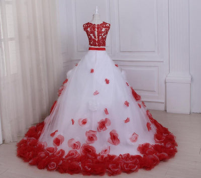 CG47 2PCS White and Red Wedding Dress