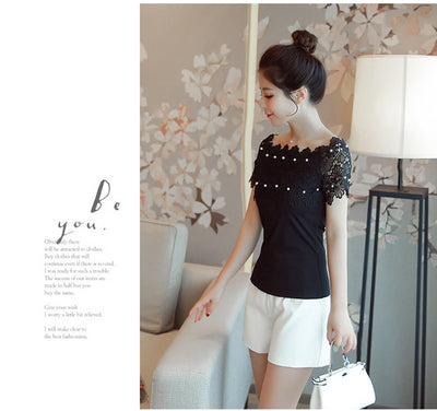 TJ03 Korean Lace Off Shoulder Blouses(White/Black)
