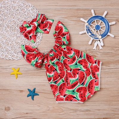 Summer Toddler Girls Watermelon Sleeveless Cotton Rompers Jumpsuit Outfit Sunsuit Clothes