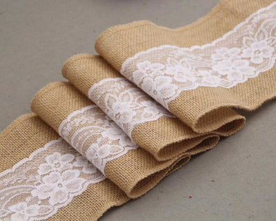Vintage  Burlap With Lace  Chair Sashes Rustic Wedding Decor