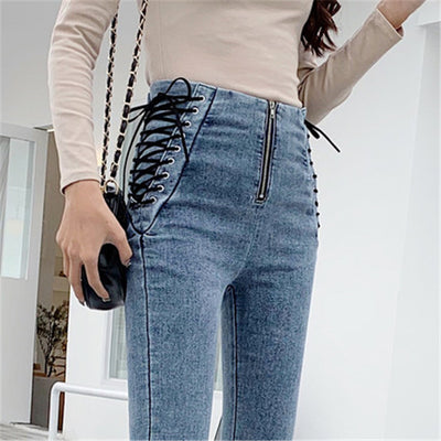 High waist Lace-Up Bowknot skinny Pants