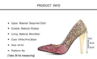 BS35 Gradient color Glitter Bridal Heels (3 Colors)