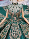 luxury green Arabic Evening Gown with chapel train