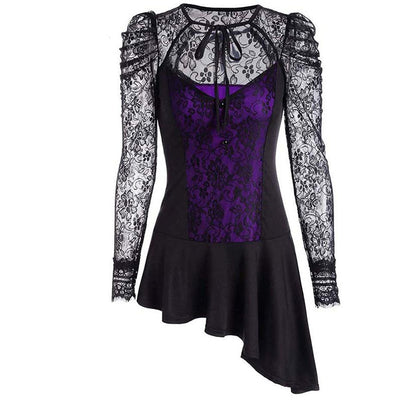 TJ35 Gothic Asymmetrical Lace Hollow Tops(2 Colors)