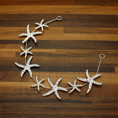 BJ18 Sparkly Crystal  Starfish Hair Jewelry