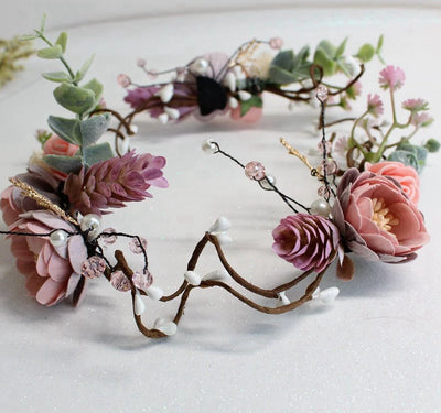 BJ60 : 3 colors of fashion flower Bridal Crowns