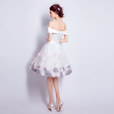 BH110 White Satin with Flower Homecoming dress