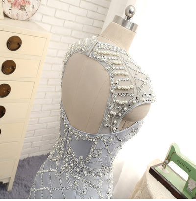 Luxury Crystal  Pearls Beading Backless Cocktail Dresses (4 Colors)