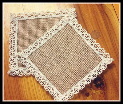 12pcs Vintage Jute  Burlap Coaster for Rustic Wedding Supplies
