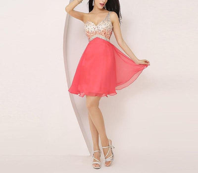 BH103 Coral One Shoulder Backless  Homecoming Dress