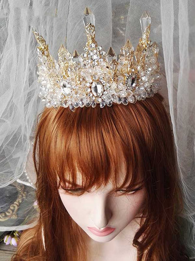 BJ227 Crystal Bridal Crown + Earrings